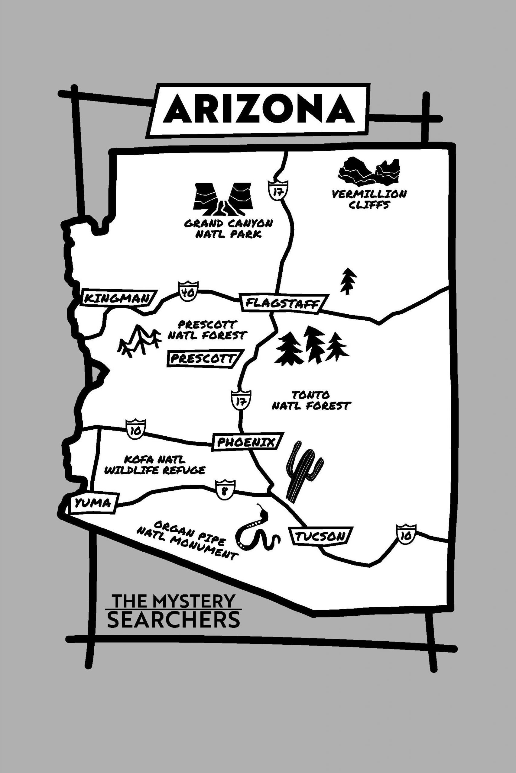Mystery Searchers - Arizona Map